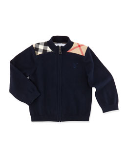 Burberry Zip-Front Sweater, Navy