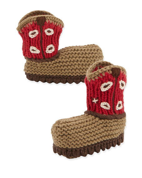 Crocheted Cowboy Boot, Red