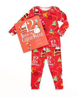 Books To Bed Boy 12 Days of Christmas Pajamas and Book Set, 12-18 Months