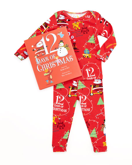 Boy 12 Days of Christmas Pajamas and Book Set, 12-18 Months