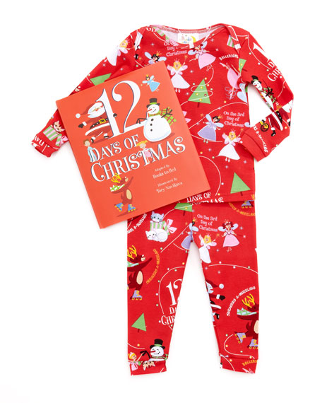 Girl 12 Days of Christmas Pajamas and Book Set, 12-18 Months