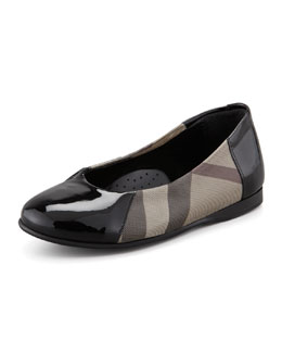 Burberry Check Patent-Trim Mary Jane Ballerina, Youth
