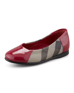 Burberry Check Patent-Trim Ballerina, Youth