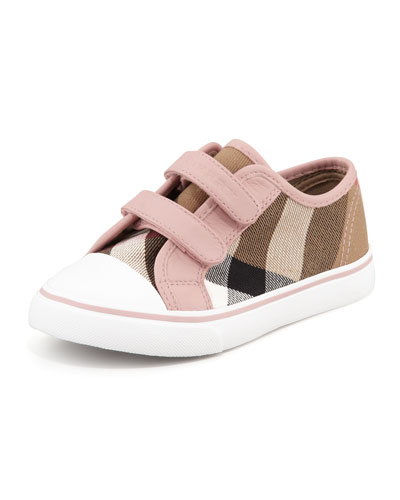 Burberry Check Double-Strap Sneaker, Toddler