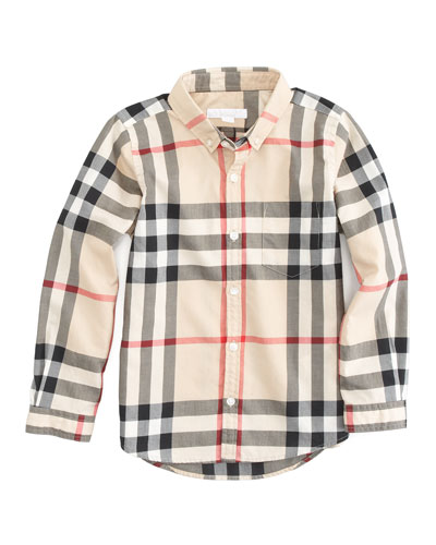 Burberry Long Sleeve Patch Pocket Check Shirt