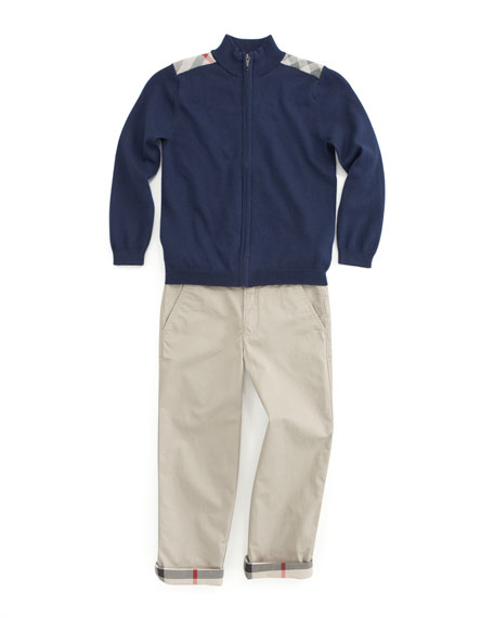 Check-Shoulder Zip Sweater