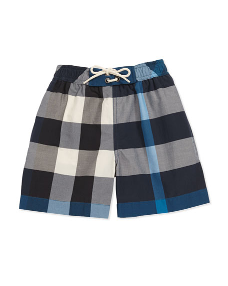 Mini Check Swim Shorts, Petrol Blue