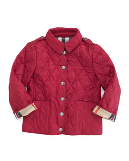 Burberry Diamond Quilted Jacket, Fritillary Pink