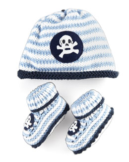 Art Walk Striped Skull Hat and Bootie Set, Light Blue