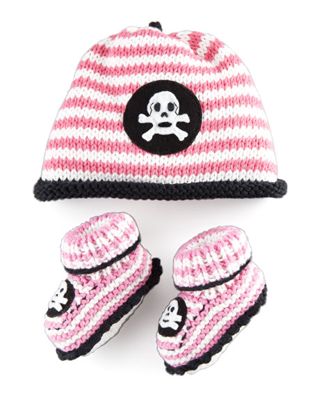 Striped Skull Hat and Bootie Set, Light Pink