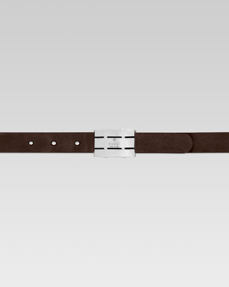 Children's Rectangle Buckle Leather Belt, Dark Cocoa