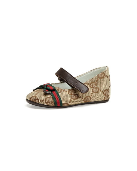 Baby Marilyn GG Canvas Mary Jane Ballerina, Beige Ebony/Pink