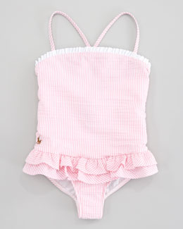 Ralph Lauren Childrenswear Seersucker One-Piece Swimsuit, Pink Stripe