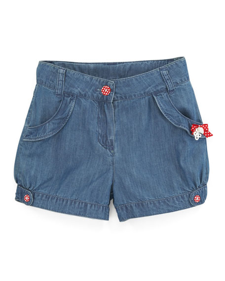 Tyfen Bow-Trim Denim Shorts