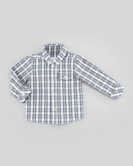 Tartine et Chocolat Theo Plaid Long-Sleeve Shirt, Lichen/Green