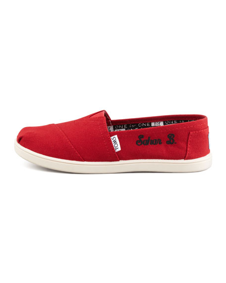 Personalized Classic Canvas Slip-On, Red, Youth
