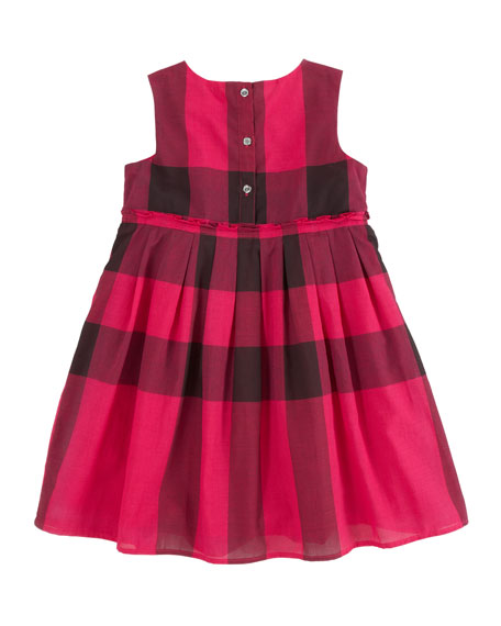 Check Dress with Ruffle Waist, Fuchsia