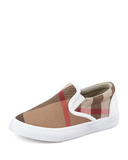 Burberry White Check Slip-On Sneaker, Toddler