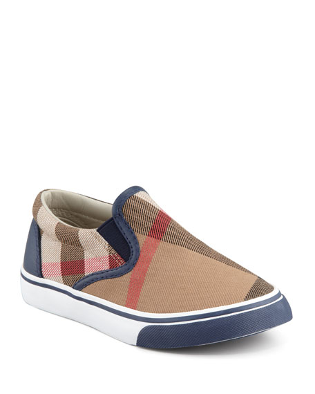 Burberry Navy Check Slip-On Sneaker, Toddler/Youth Sizes 12T-4Y