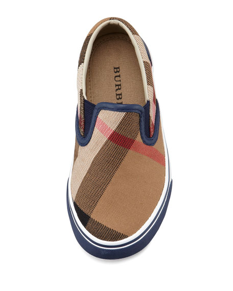 Navy Check Slip-On Sneaker, Toddler/Youth Sizes 12T-4Y