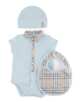 Burberry Check Playsuit, Bib & Hat Set, Porcelain Blue