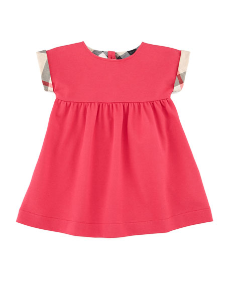 Check-Cuff Pique Henley Dress
