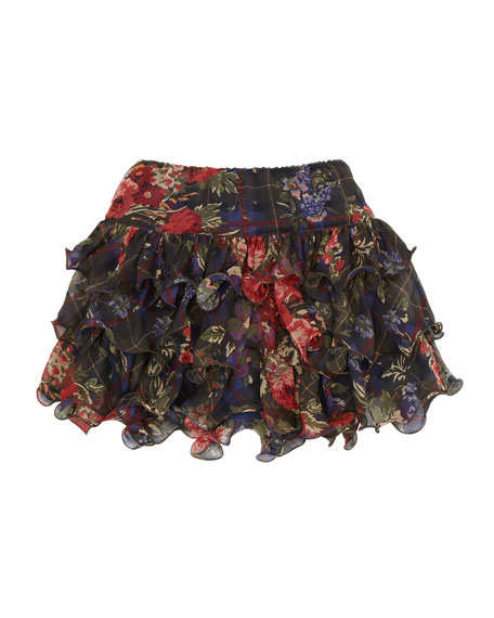 Floral & Plaid Tiered Skirt, 2T-3T