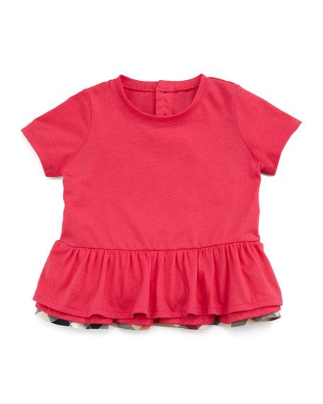 Toddler Girls' Drop-Waist Ruffle Tee, Fuchsia