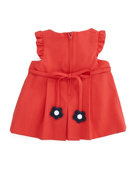 Plain Pincord Flutter-Sleeve Dress, Red, 3-9 Months