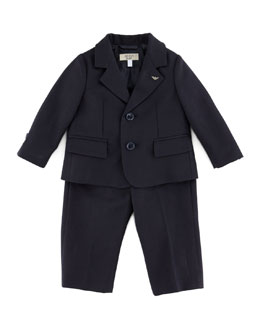Armani Junior Little Boys' Two-Piece Suit, Blue, 3-24 Months