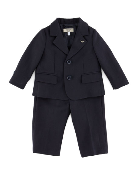 Armani Junior Little Boys' Two-Piece Suit, Blue, 3-24