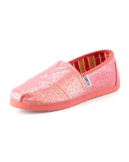 TOMS Youth Coated Glitter Slip-On, Fuchsia