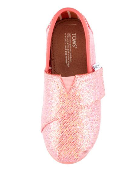 Tiny Coated Glitter Slip-On, Fuchsia