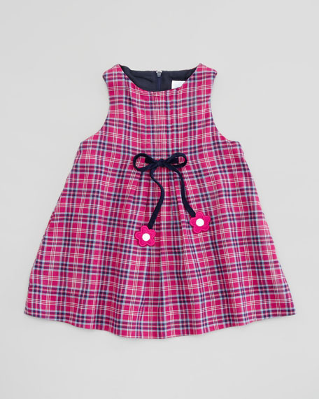 Plaid Dress with Bow Detail, Fuchsia/Navy, 12-24 Months