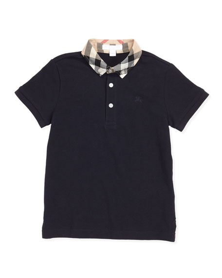 Burberry William Check-Collar Polo, True Navy, 4Y-10Y