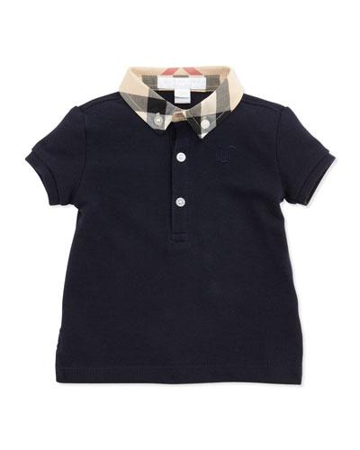 Mini Pique Polo Shirt, Navy