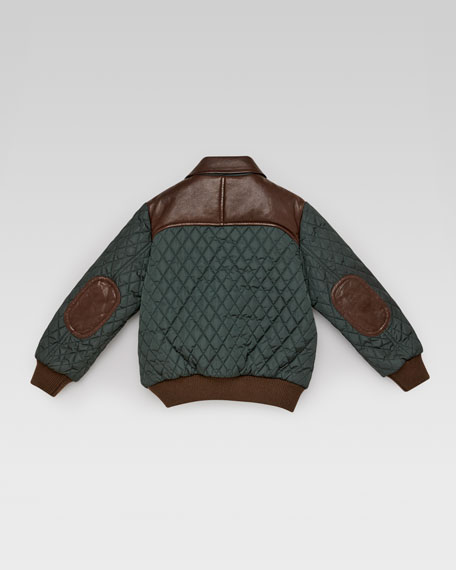 Quilted Nylon-Leather Bomber Jacket