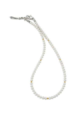 LAGOS Kinder Pearl Necklace with 18k Gold Cavier Beaded Accents