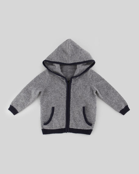 Zip-Front Cashmere Hoodie, Charcoal/Navy, 6-24 Months