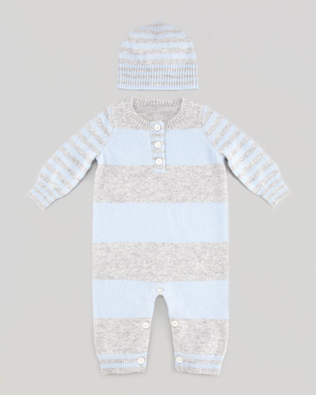 Striped Cashmere Jumper & Hat Set, Blue/Gray
