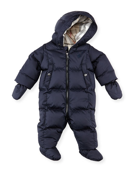Down/Feather Puffer Snowsuit, Navy, 3-18 Months