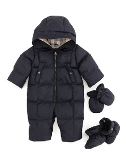 Burberry Down/Feather Puffer Snowsuit, Navy, 3-18 Months