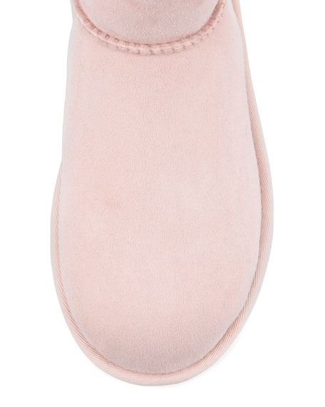 Monogrammed Classic Short Boot, Baby Pink, 13T-4Y