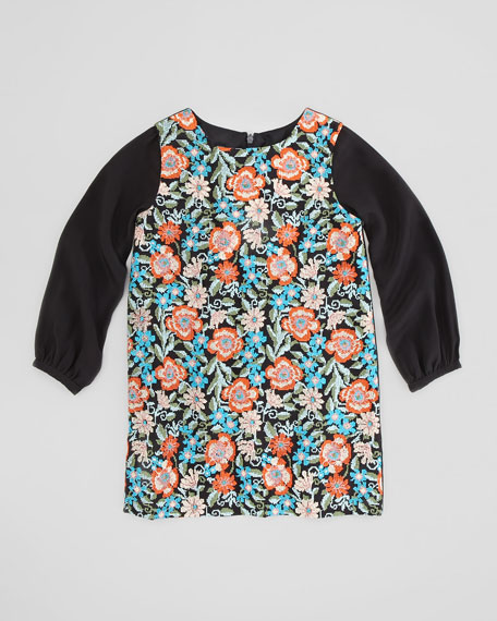 Floral-Tapestry Long-Sleeve Shift Dress, Sizes 2-4