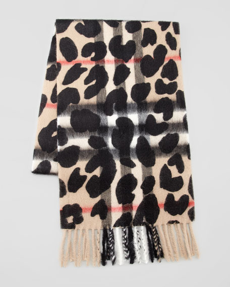 Girls' Animal-Print Check Scarf, Camel