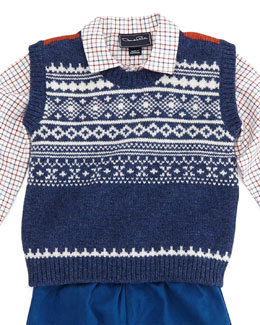 Oscar de la Renta Toddler Boys' Fair Isle Lambswool Vest, Red