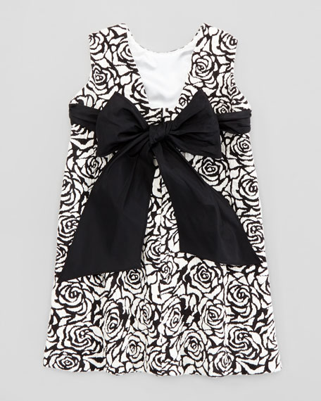 Rose Jacquard Shift Dress, Black/Ivory, 2T-3T