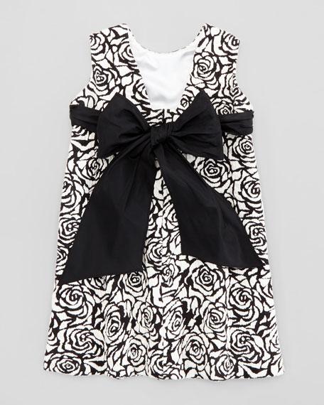 Rose Jacquard Shift Dress, Black/Ivory, 2T-3T