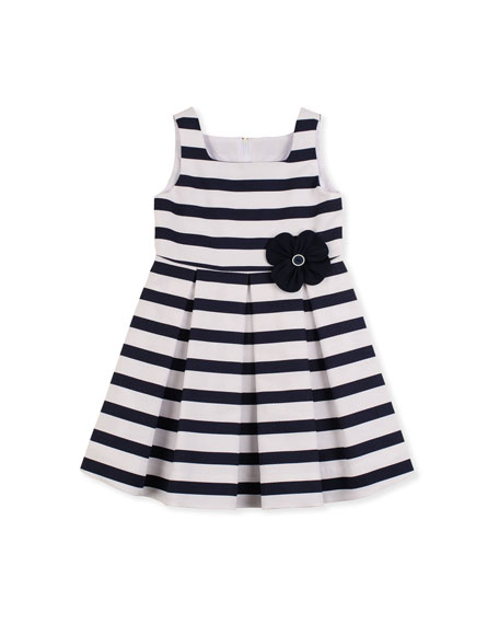 Blue Ribbon Floral-Detail Dress, 2T-4T