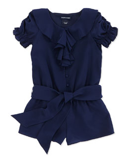 Ralph Lauren Childrenswear Ruffle-Front Silk Romper, Spring Navy, Sizes 4-6X